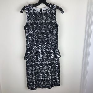 Cynthia Steffe Sz 2 Black White Peplum Dress